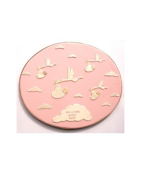 Wykrawaczka Patchwork BOCIAN Z DZIECKIEM Chmurki Stork & Baby