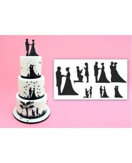 Wykrawaczka Patchwork ZAKOCHANA PARA Postacie Sylwetki Para Młoda na tort weselny na ślub