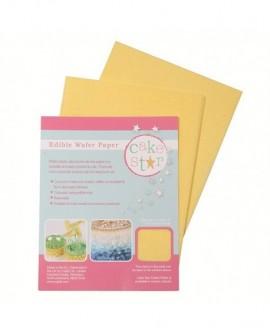 Papier waflowy ryżowy ŻÓŁTY 18x14 cm - 12 arkuszy