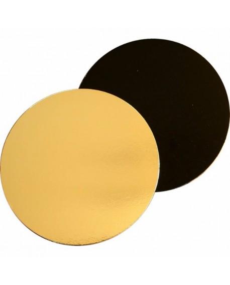 Podkład pod tort DWUSTRONNY 22 cm czarno-złoty GŁADKI BRZEG