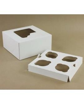 Opakowanie na 4 babeczki BIAŁE Z OKNEM pudełko na muffiny, muffinki 18x18 cm
