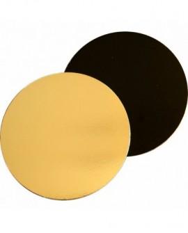 Podkład pod tort DWUSTRONNY 16 cm czarno-złoty GŁADKI BRZEG