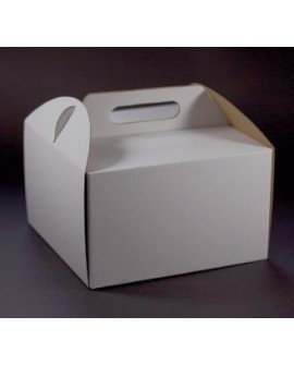 Opakowanie WYSOKIE 26x26x25 cm Białe pudełko koszyczek z rączką na tort