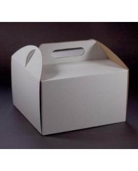 Opakowanie WYSOKIE 28x28x25 cm Białe pudełko koszyczek z rączką na tort (1)