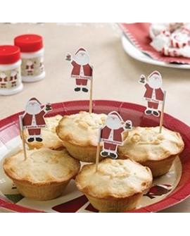 Mikołaje na piku 20 szt. Ozdoby na babeczki, muffinki