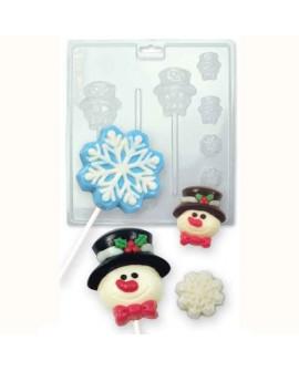 Forma na czekoladki PME Śnieżynki i Bałwanki Lizaki