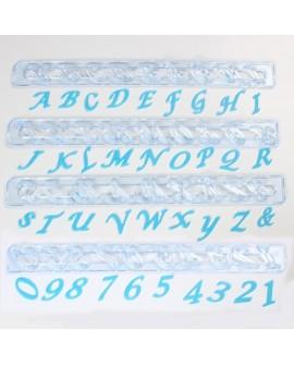 Wykrawaczki FMM duże litery i cyfry KURSYWA Alfabet Script