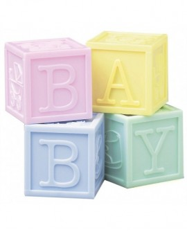 Klocki BABY na tort 4 szt. pastelowe