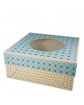 Opakowanie 28x28x14 cm GROSZKI pudełko z oknem na tort