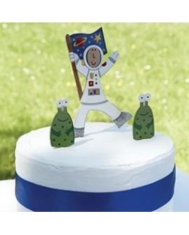 Topper KOSMONAUTA 10 cm Drewniany Ozdoba na tort