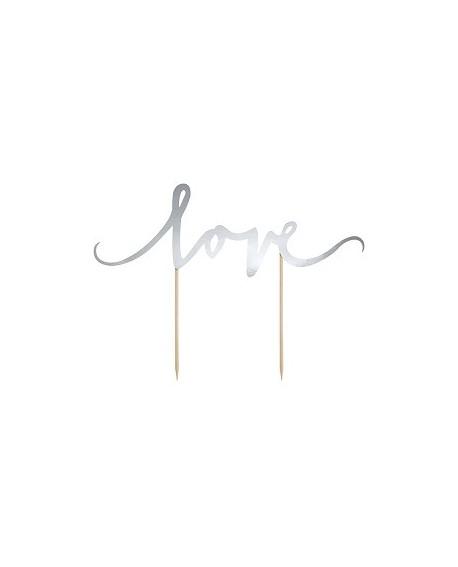 Topper LOVE - SREBRNY Ozdoba na tort