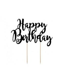 "Topper ""Happy Birthday"" CZARNY Ozdoba na tort"