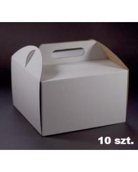 Opakowanie WYSOKIE 28x28x25 cm Białe pudełko koszyczek z rączką na tort