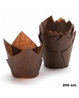 Papilotki tulipany BRĄZOWE 200 szt muffinki, babeczki, muffiny
