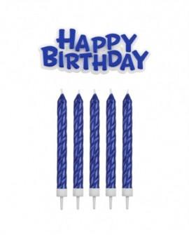 Świeczki PME Happy Birthday 16 szt. niebieskie