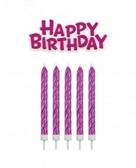 Świeczki PME Happy Birthday 16 szt. różowe