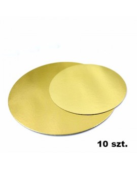 Podkład pod tort złoty cienki 30 cm - 10 szt.