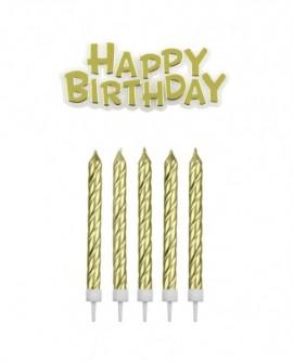Świeczki PME Happy Birthday 16 szt. ZŁOTE