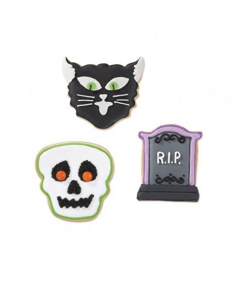 Foremki Halloween Nagrobek, Kot, Czaszka 3 szt Wilton