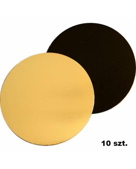 Podkład pod tort DWUSTRONNY 20 cm - 10 szt. czarno-złoty GŁADKI BRZEG