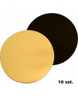 Podkład pod tort DWUSTRONNY 22 cm - 10 szt. czarno-złoty GŁADKI BRZEG