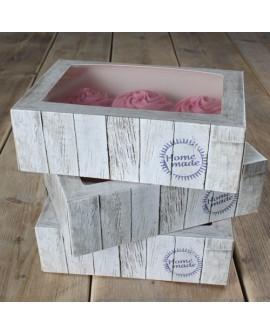 Opakowanie na 6 babeczek 3 szt. DREWNIANE pudełko na muffiny, muffinki