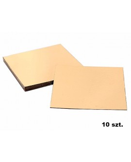Podkład pod tort złoty gruby 30x30 cm GŁADKI BRZEG KWADRATOWY 10 szt.