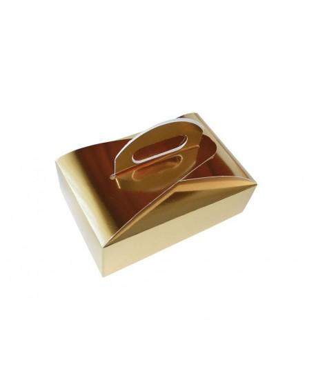 Złote pudełko na czekoladki, ciasteczka 16x11 cm Wys. 4,5 cm