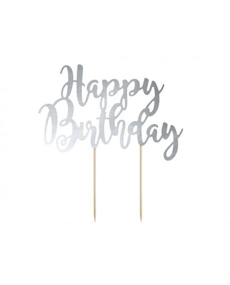 """Topper """"Happy Birthday"""" SREBRNY Ozdoba na tort"""