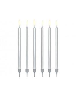 Świeczki urodzinowe 12,5 cm SREBRNE GŁADKIE 12 szt
