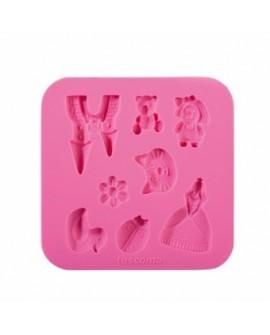 Forma silikonowa WZORY DZIEWCZĘCE Księżniczka, kotek, miś, pałac, biedronka, kaczuszka, kwiatek, dziewczynka