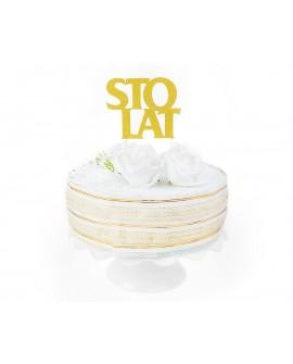 Topper STO LAT ZŁOTY brokatowy Ozdoba na tort