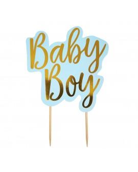 Topper BABY BOY niebieski Ozdoba na tort