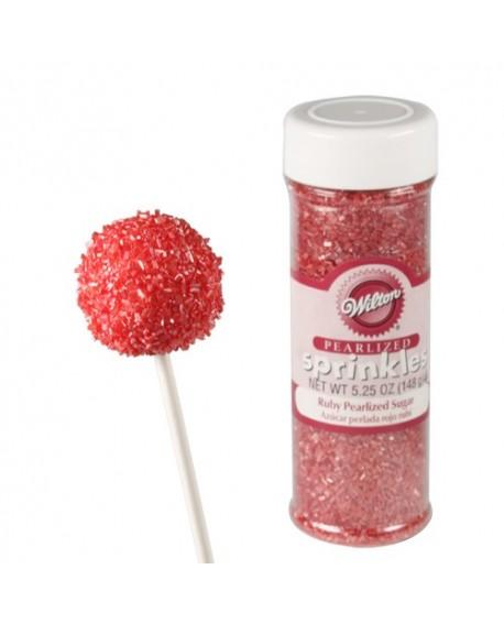 Kryształki cukrowe Wilton 150 g perłowy cukier RUBINOWY