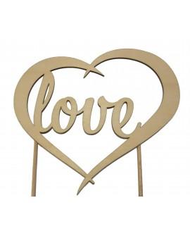 Topper SERCE LOVE drewniany naturalny