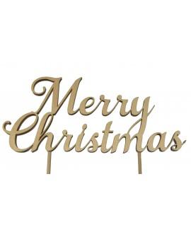 Topper Merry Christmas drewniany naturalny