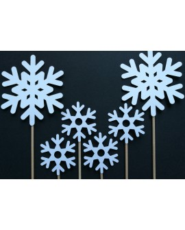Topper Śnieżynki 6 szt. białe perłowe