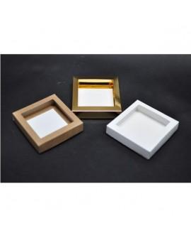 Kartonik na pierniczki 12x12x3 cm Biały Złoty Eko 10 szt