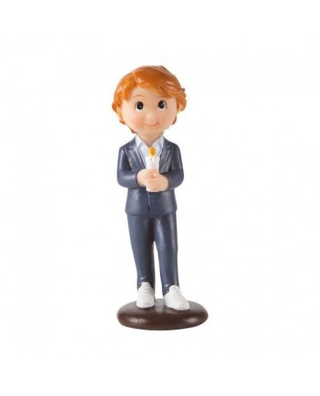 Figurka KOMUNIA Chłopiec ze świecą 10 cm