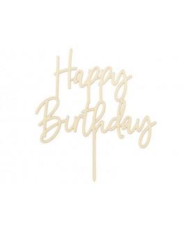 """Topper """"Happy Birthday"""" Naturalny Drewniany Ozdoba na tort"""