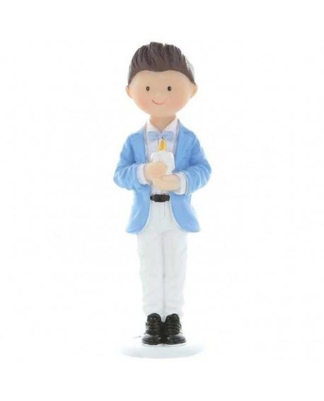 Figurka KOMUNIA Chłopiec Błękitny ze świecą 10 cm