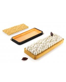 Zestaw do tarty BUBBLE prostokąt Rant perforowany + forma silikonowa 26 x 10 cm Tarta