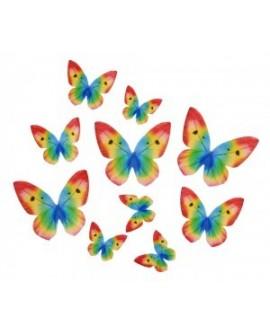 Motyle waflowe Tęczowe 10 szt.