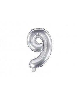 Balon foliowy 35 cm SREBRNY Cyfra 9