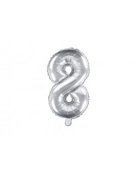 Balon foliowy 35 cm SREBRNY Cyfra 8