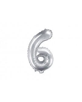 Balon foliowy 35 cm SREBRNY Cyfra 6