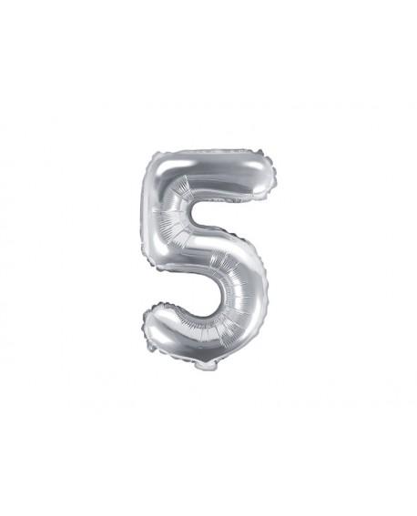Balon foliowy 35 cm SREBRNY Cyfra 5