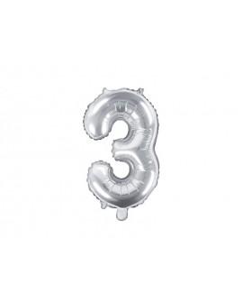 Balon foliowy 35 cm SREBRNY Cyfra 3