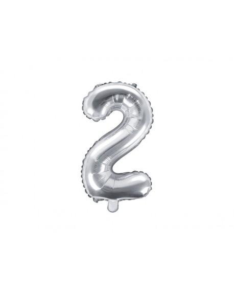 Balon foliowy 35 cm SREBRNY Cyfra 2