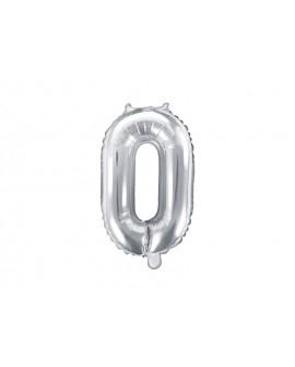 Balon foliowy 35 cm SREBRNY Cyfra 0